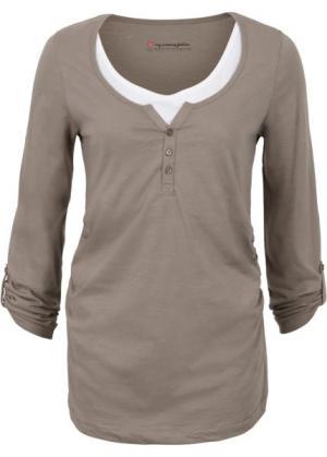 Мода для беременных: футболка с длинными рукавами и функцией кормления (серо-коричневый) bonprix. Цвет: серо-коричневый