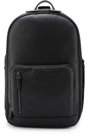 Кожаный рюкзак с внешним карманом на молнии Ermenegildo Zegna. Цвет: темно-синий