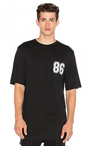 Свободная студенческая футболка Helmut Lang. Цвет: black & white