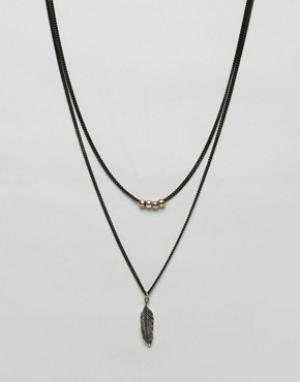 Icon Brand Черное ожерелье с подвеской в виде пера. Цвет: черный