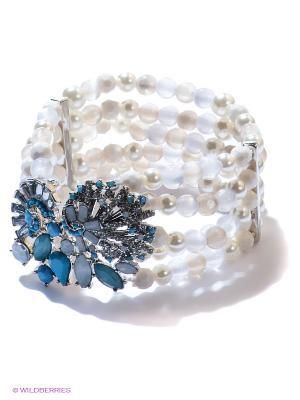 Браслет Milana Style. Цвет: светло-голубой, серебристый, прозрачный