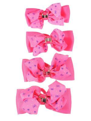 Резинки для волос бантики с золотой пряжкой принтом ромашка, 4 штуки, розовые Радужки. Цвет: розовый