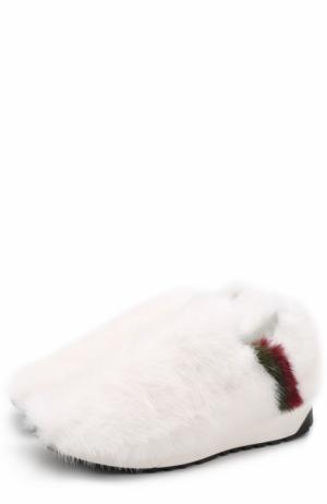 Кросcовки с отделкой из меха норки Joshua Sanders. Цвет: белый