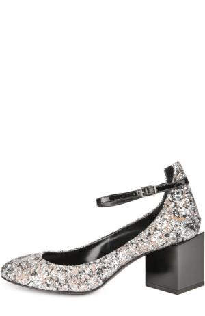 Туфли с глиттером на квадратном каблуке Pierre Hardy. Цвет: серебряный