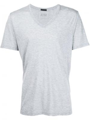 Трикотажная футболка с V-образным вырезом Atm Anthony Thomas Melillo. Цвет: серый