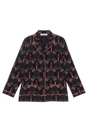 Блузка в пижамном стиле Valentino. Цвет: черный, розовый
