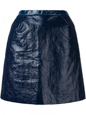 Приталенная юбка с эффектом помятости Delpozo. Цвет: синий