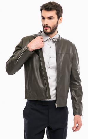 Кожаная куртка на молнии и кнопках Strellson. Цвет: серый