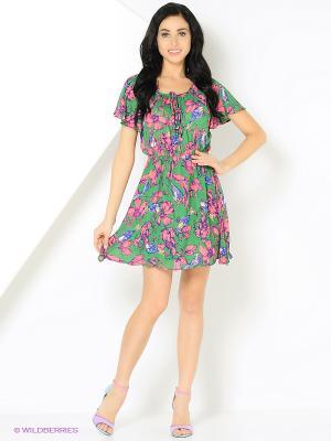 Платье Lima с розовыми цветами зеленое MONOROOM