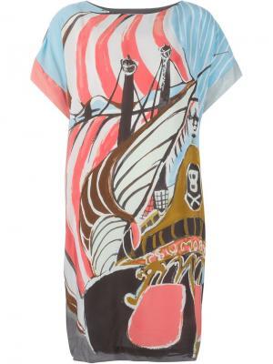 Платье шифт с принтом корабля Tsumori Chisato. Цвет: синий