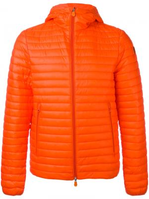 Стеганая куртка с капюшоном Save The Duck. Цвет: жёлтый и оранжевый