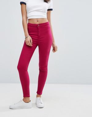 New Look Яркие зауженные джинсы. Цвет: розовый