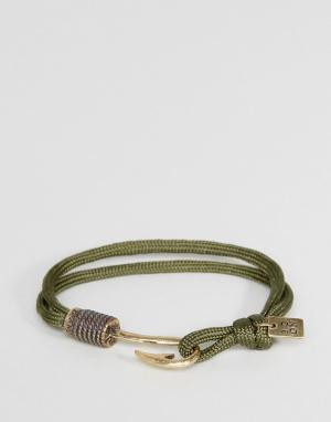 Icon Brand Браслет-шнурок цвета хаки с крючком. Цвет: зеленый