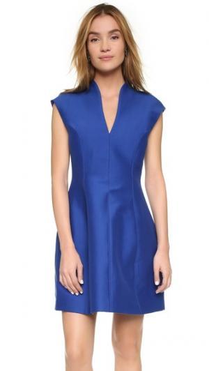Структурированное платье с короткими рукавами Halston Heritage. Цвет: голубой