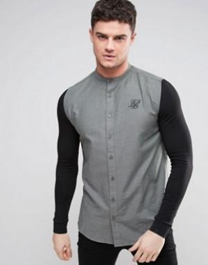 SikSilk Рубашка скинни с трикотажными рукавами. Цвет: зеленый