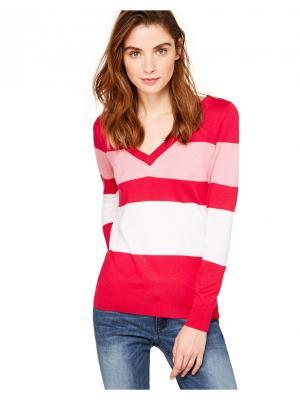 Пуловер United Colors of Benetton. Цвет: фуксия, розовый, белый
