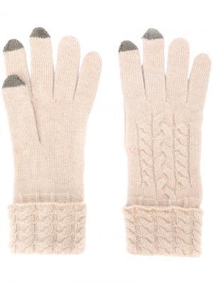 Вязаные перчатки N.Peal. Цвет: телесный