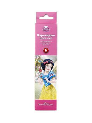 НАБОР КАРАНДАШЕЙ ЦВЕТНЫХ Disney БЕЛОСНЕЖКА, 6 ЦВЕТОВ Bruno Visconti. Цвет: лиловый, бледно-розовый, серебристый