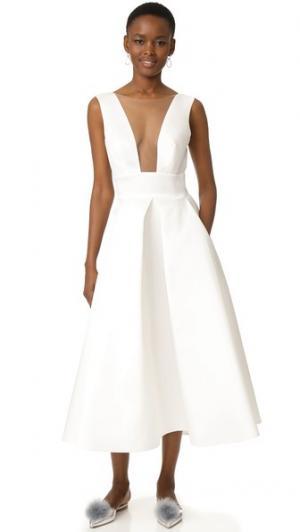 Вечернее миди-платье Monique Lhuillier. Цвет: белый шелк