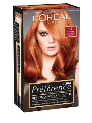 Стойкая краска для волос Preference Feria, оттенок 74, Манго L'Oreal Paris. Цвет: рыжий