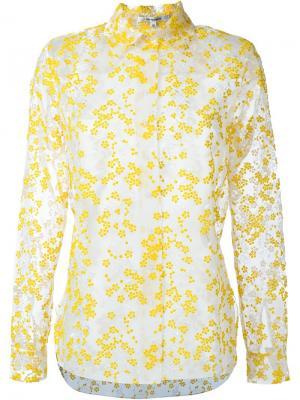 Прозрачная рубашка с цветочной вышивкой Carven. Цвет: жёлтый и оранжевый