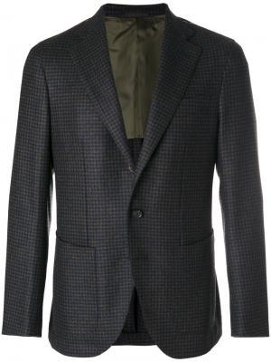 Пиджак в клетку гингем Caruso. Цвет: коричневый