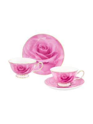 Чайная пара Розовая роза Elan Gallery. Цвет: розовый,белый