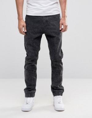 Liquor & Poker Мраморные джинсы с манжетами. Цвет: черный
