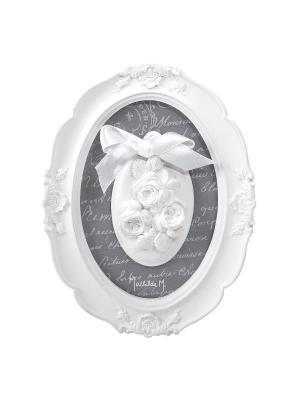 Ароматическая гипсовая декоративная овальная рамка 14,5х19х2 см  Роза, аромат Античная Роза Mathilde M. Цвет: белый
