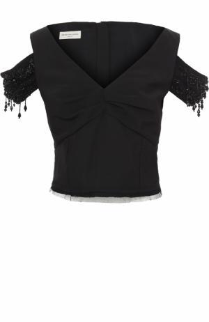 Топ с V-образным вырезом и декоративной вышивкой Dries Van Noten. Цвет: черный