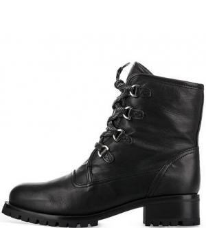 Утепленные кожаные ботинки UNISA. Цвет: черный