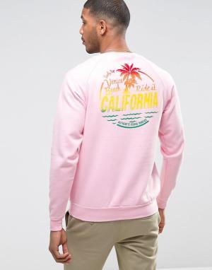 Wetts Свитшот с круглым вырезом и надписью California на спине. Цвет: розовый