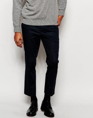 ASOS Темно-синие укороченные поплиновые брюки скинни. Цвет: темно-синий