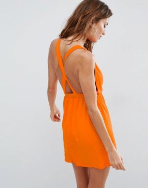 ASOS Пляжное трикотажное платье мини с перекрестной отделкой на спине. Цвет: оранжевый