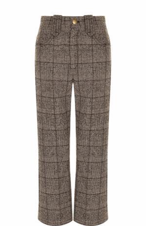 Укороченные расклешенные брюки в клетку Marc Jacobs. Цвет: коричневый