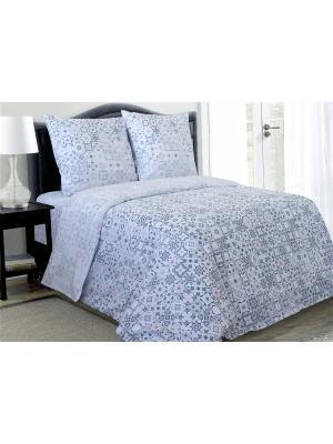 Комплект постельного белья,Евро Блакiт. Цвет: серо-голубой