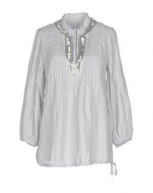 Блузка 120% LINO. Цвет: светло-серый