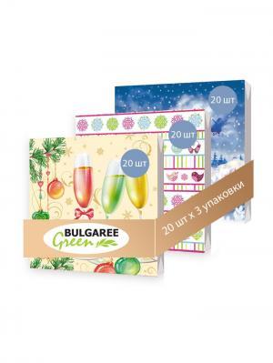 Набор Новогодний из 3 упаковок трехслойных салфеток с ярким принтом, 3х20шт Bulgaree Green. Цвет: синий, розовый, кремовый