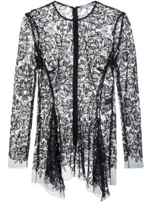Прозрачная блузка с цветочной вышивкой Lela Rose. Цвет: чёрный