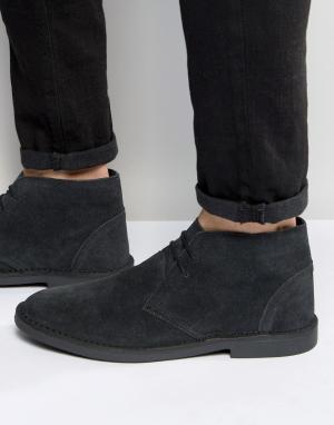 New Look Черные кожаные дезерты. Цвет: черный