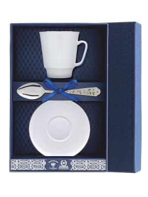 Набор чайный Майская - Золотой кантик с ложкой Лето-Ромашка 3 предмета + футляр АргентА. Цвет: серебристый