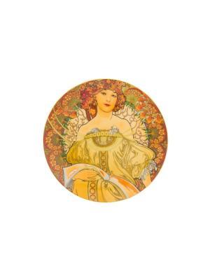 Тарелка  декоративная Мечтательность Elan Gallery. Цвет: оранжевый, желтый