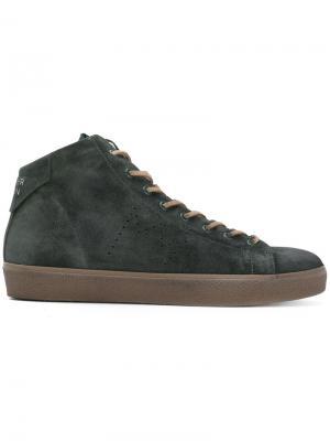 Хайтопы со шнуровкой Leather Crown. Цвет: зелёный