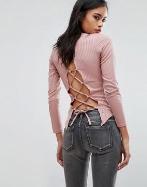 Parisian Топ со шнуровкой сзади. Цвет: розовый