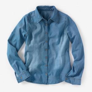 Рубашка джинсовая на 10-16 лет R essentiel. Цвет: синий поетртый