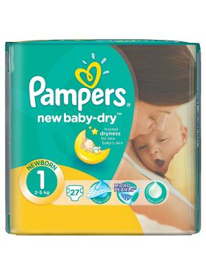 Подгузники New Baby-Dry 2-5 кг, 1 размер, 27 шт. Pampers. Цвет: зеленый