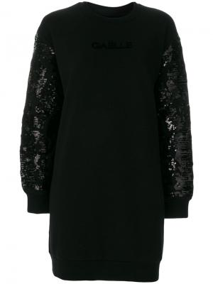Платье декорированное пайетками Gaelle Bonheur. Цвет: чёрный