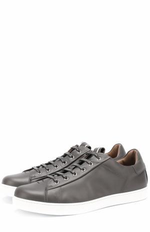 Кожаные кеды на шнуровке Gianvito Rossi. Цвет: темно-серый
