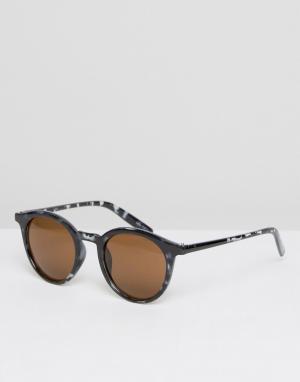 Quay Australia Круглые солнцезащитные очки в черной черепаховой оправе. Цвет: черный