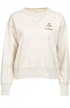Укороченный свитшот со спущенным рукавом и логотипом бренда Isabel Marant Etoile. Цвет: кремовый